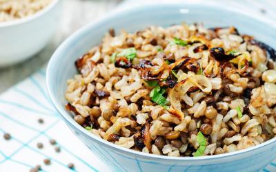 Riz et lentilles au velouté de légumes